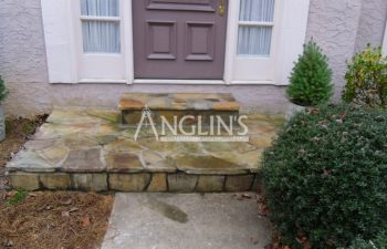 outdoor steps after stone patch work