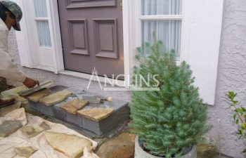 outdoor steps while stone patch work