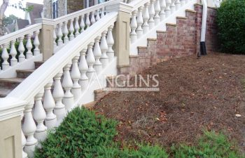 outdoor steps with concrete baluster railing
