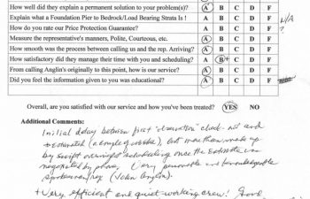 report card & customer survey filled in by anglin's customer