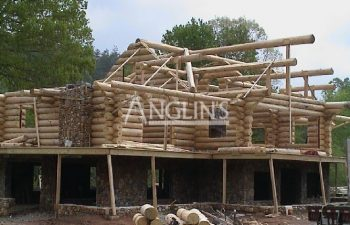 photo of the wooden cabin being build