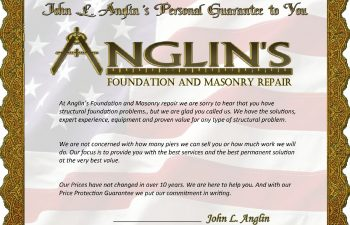 Anglin's foundation and masonry repair guarantee certificate