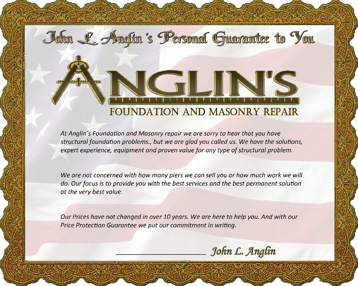 Anglin's foundation and masonry repair guarantee certificate