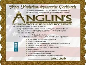 Certificate for Anglin's Price Guarantee