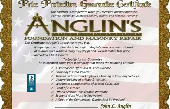 price protection guarantee certificate for anglin's foundation and masonry repair